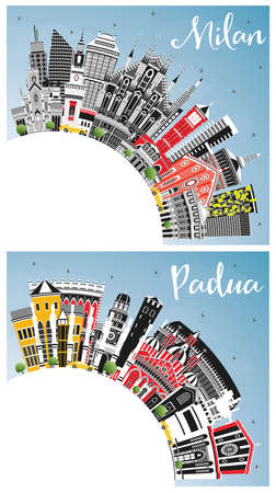 Milan and Padua Italy City Skylines Set with Color Buildings, Blue Sky and Copy Space. Business Travel and Concept with Historic Architecture. Cityscapes with Landmarks. 版權商用圖片