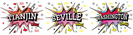 Washington, Tianjin and Seville Comic Text in Pop Art Style Isolated on White Background.