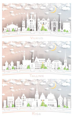 Tallinn Estonia, Riga Latvia and Vilnius Lithuania City Skyline Set in Paper Cut Style with Snowflakes, Moon and Neon Garland.