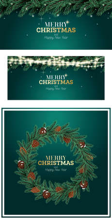 Christmas Decoration Set. Fir Branch, Neon Lights, Wreath with Cones on Green Background. Merry Christmas and Happy New Year.