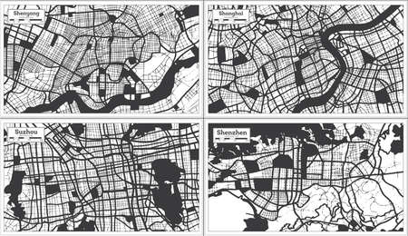 Suzhou, Shanghai, Shenzhen and Shenyang China City Maps Set in Black and White Color in Retro Style. Outline Maps. 版權商用圖片