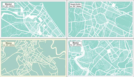Siena, Reggio Emilia, Rome and Rimini Italy City Maps Set in Retro Style. Outline Maps. 版權商用圖片
