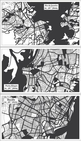Porto Alegre, Recife and Rio de Janeiro Brazil City Maps Set in Black and White Color in Retro Style. Outline Maps. 版權商用圖片 - 161600235