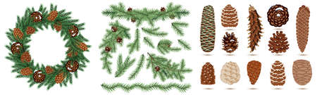 Winter Set. Christmas Wreath with Green Fir Branch and Cones Isolated on White Background. Set of Realistic Fir Branches. Christmas Tree. Set of Pine and Spruce Cones
