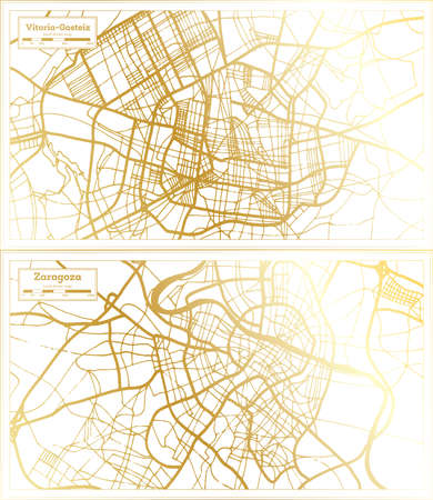 Zaragoza and Vitoria Gasteiz Spain City Map Set in Retro Style in Golden Color. Outline Map. 版權商用圖片