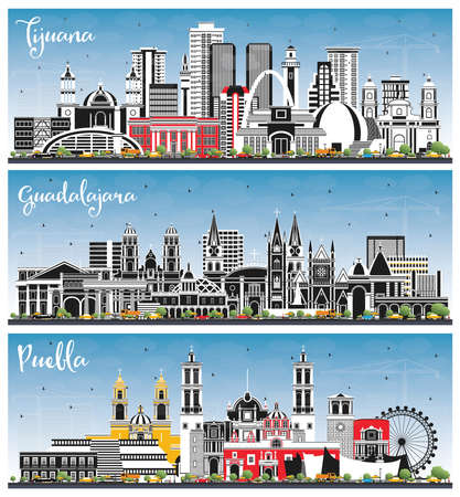 Puebla, Guadalajara, Tijuana Mexico City Skylines with Color Buildings and Blue Sky. Tourism Concept with Historic and Modern Architecture. Cityscape with Landmarks.