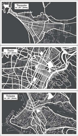 Trieste, Taranto and Turin Italy City Maps Set in Black and White Color in Retro Style. Outline Maps. 版權商用圖片