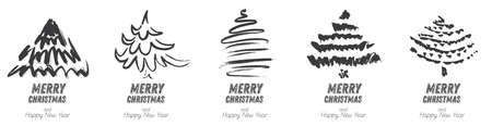 Christmas Tree Sketch Set Isolated on White Background. Merry Christmas. Silhouette of Hand Drawn Spruce Tree. 版權商用圖片 - 161600241