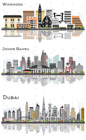 Johor Bahru Malaysia, Dubai UAE and Windhoek Namibia City Skylines Set with Color Buildings and Reflections Isolated on White. 版權商用圖片
