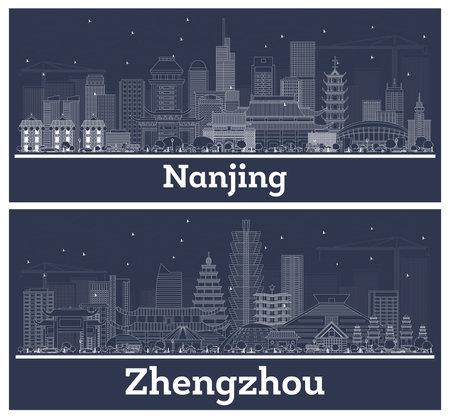 Outline Zhengzhou and Nanjing China City Skyline Set with White Buildings.