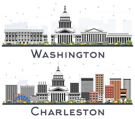 Washington DC USA and Charleston West Virginia City Skylines Set with Gray Buildings Isolated on White.