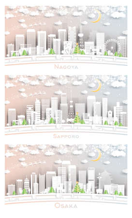 Sapporo, Osaka and Nagoya Japan City Skyline Set in Paper Cut Style with Snowflakes, Moon and Neon Garland.