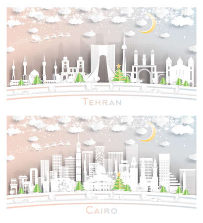 Cairo Egypt and Tehran Iran City Skyline Set in Paper Cut Style with Snowflakes, Moon and Neon Garland. 版權商用圖片