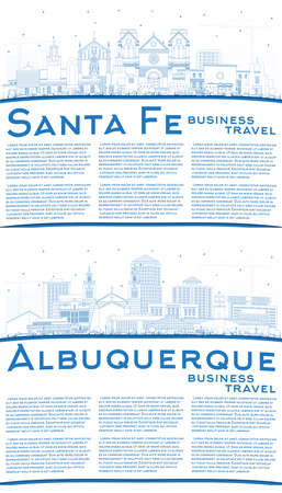 Outline Albuquerque and Santa Fe New Mexico City Skyline Set with Blue Buildings and Copy Space. 版權商用圖片