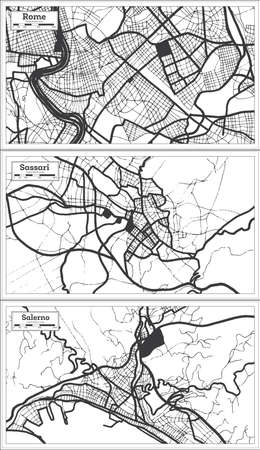 Sassari, Salerno and Rome Italy City Map Set in Black and White Color in Retro Style. Outline Map.