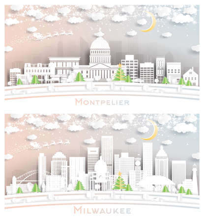 Milwaukee Wisconsin and Montpelier Vermont City Skyline Set in Paper Cut Style with Snowflakes, Moon and Neon Garland. 版權商用圖片