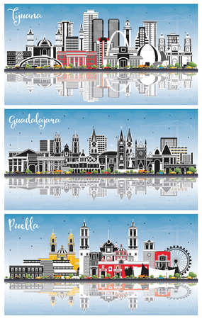 Guadalajara, Puebla, Tijuana Mexico City Skyline with Color Buildings, Blue Sky and Reflections. Tourism Concept with Historic and Modern Architecture. Cityscape with Landmarks.