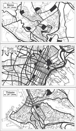 Turin, Trieste and Siena Italy City Map Set in Black and White Color in Retro Style. Outline Map.