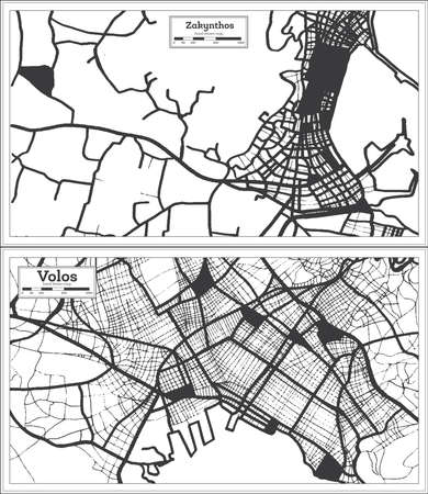Volos and Zakynthos Greece City Maps Set in Black and White Color in Retro Style. Outline Maps.