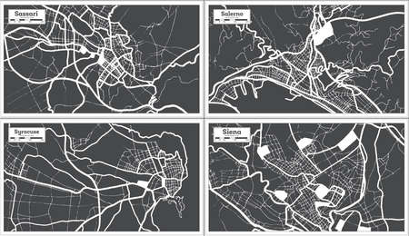 Syracuse, Salerno, Siena and Sassari Italy City Maps Set in Black and White Color in Retro Style. Outline Maps. 版權商用圖片