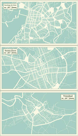 Santa Clara, Trinidad and Santiago de Cuba City Maps Set in Retro Style. Outline Maps.