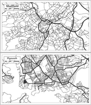 Plymouth and Sheffield Great Britain City Map Set in Black and White Color in Retro Style. Outline Map.