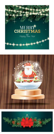 Christmas Set with Crystal Ball with Snow and Santa Claus, Fir Branch with Neon Garland and Decoration with Red Bow on Fir Tree Branches with Cones. 版權商用圖片