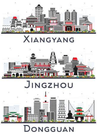 Jingzhou, Dongguan and Xiangyang China City Skylines Set with Color Buildings Isolated on White. Cityscapes with Landmarks. 版權商用圖片 - 161600284