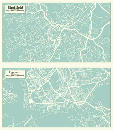 Plymouth and Sheffield Great Britain (United Kingdom) City Maps Set in Retro Style. Outline Maps. 版權商用圖片
