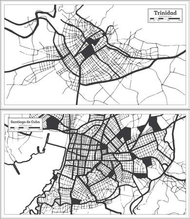 Santiago de Cuba and Trinidad Cuba City Map Set in Black and White Color in Retro Style. Outline Map.