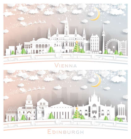 Edinburgh Scotland and Vienna Austria City Skyline Set in Paper Cut Style with Snowflakes, Moon and Neon Garland.