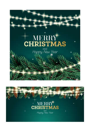 Merry Christmas and Happy New Year Greeting Card with Cones. Fir Branch with Neon Garland on Green Background. 版權商用圖片 - 161600289