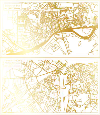 Nizhny Novgorod and Rostov on Don Russia City Map Set in Retro Style in Golden Color. Outline Map. 版權商用圖片