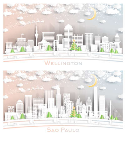 Sao Paulo Brazil and Wellington New Zealand City Skyline Set in Paper Cut Style with Snowflakes, Moon and Neon Garland.