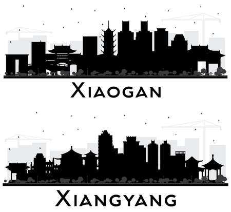 Xiangyang and Xiaogan China City Skyline Silhouettes Set with Black Buildings Isolated on White.