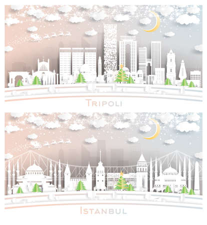 Istanbul Turkey and Tripoli Libya City Skyline Set in Paper Cut Style with Snowflakes, Moon and Neon Garland.