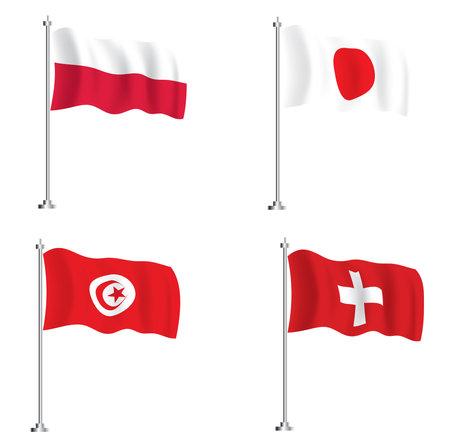Tunisian, Japanese, Polish and Swiss Flags. Isolated Wave Flags Set. 版權商用圖片 - 161600296