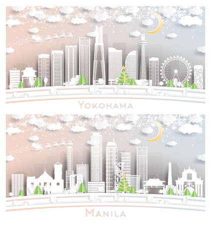 Manila Philippines and Yokohama Japan City Skyline Set in Paper Cut Style with Snowflakes, Moon and Neon Garland.