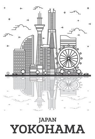 Outline Yokohama Japan City Skyline with Modern Buildings and Reflections Isolated on White. Vector Illustration. Yokohama Cityscape with Landmarks. 向量圖像