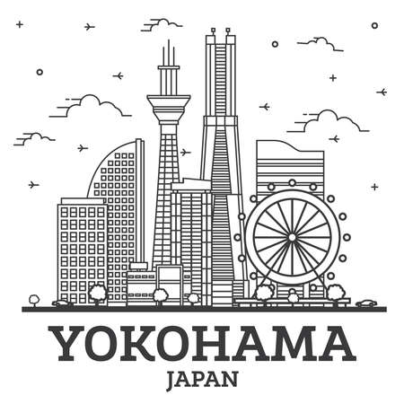 Outline Yokohama Japan City Skyline with Modern Buildings Isolated on White. Vector Illustration. Yokohama Cityscape with Landmarks.