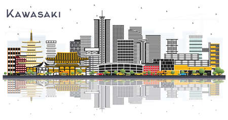 Kawasaki Japan City Skyline with Color Buildings and Reflections Isolated on White. Vector Illustration. Business and Tourism Concept with Historic Architecture. Kawasaki Cityscape with Landmarks. 向量圖像