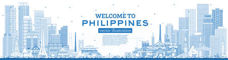 Outline Welcome to Philippines City Skyline with Blue Buildings. Vector Illustration. Concept with Historic Architecture. Philippines Cityscape with Landmarks. Manila, Quezon, Davao, Cebu. 版權商用圖片 - 161600302
