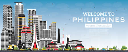 Welcome to Philippines City Skyline with Gray Buildings and Blue Sky. Vector Illustration. Concept with Historic Architecture. Philippines Cityscape with Landmarks. Manila, Quezon, Davao, Cebu. 版權商用圖片 - 161600303