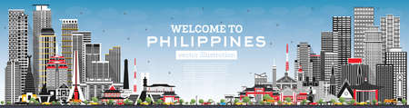 Welcome to Philippines City Skyline with Gray Buildings and Blue Sky. Vector Illustration. Concept with Historic Architecture. Philippines Cityscape with Landmarks. Manila, Quezon, Davao, Cebu. 向量圖像