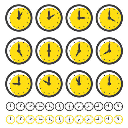 Set of Clocks Icons for Every Hour Isolated on White. Vector Illustration. Clocks with Yellow Circle.