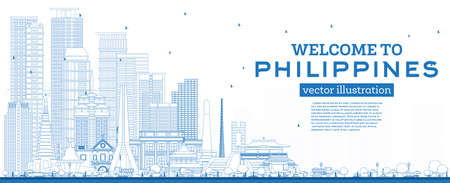 Outline Welcome to Philippines City Skyline with Blue Buildings. Vector Illustration. Concept with Historic Architecture. Philippines Cityscape with Landmarks. Manila, Quezon, Davao, Cebu.