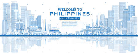 Outline Welcome to Philippines City Skyline with Blue Buildings and Reflections. Vector Illustration. Historic Architecture. Philippines Cityscape with Landmarks. Manila, Quezon, Davao, Cebu. 版權商用圖片 - 161768294