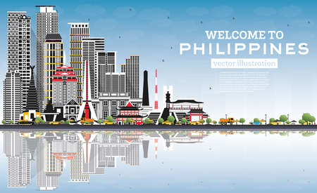 Welcome to Philippines City Skyline with Gray Buildings, Blue Sky and Reflections. Vector Illustration. Historic Architecture. Philippines Cityscape with Landmarks. Manila, Quezon, Davao, Cebu.