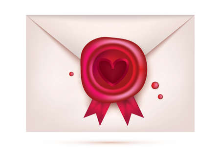 Valentines Day Wax Seal with Red Heart and Ribbons. Retro Stamp on Envelope. Vector Illustration.