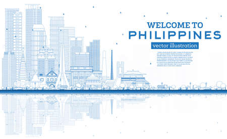 Outline Welcome to Philippines City Skyline with Blue Buildings and Reflections. Vector Illustration. Historic Architecture. Philippines Cityscape with Landmarks. Manila, Quezon, Davao, Cebu. 向量圖像